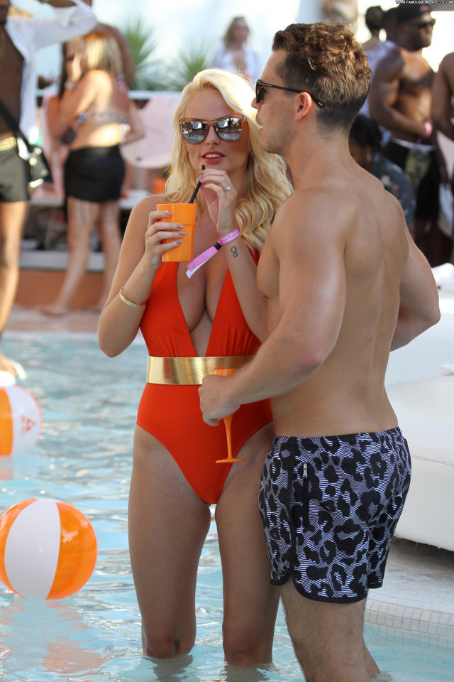 Rhian Sugden Pool Party Beautiful Glamour Model Posing Hot Party