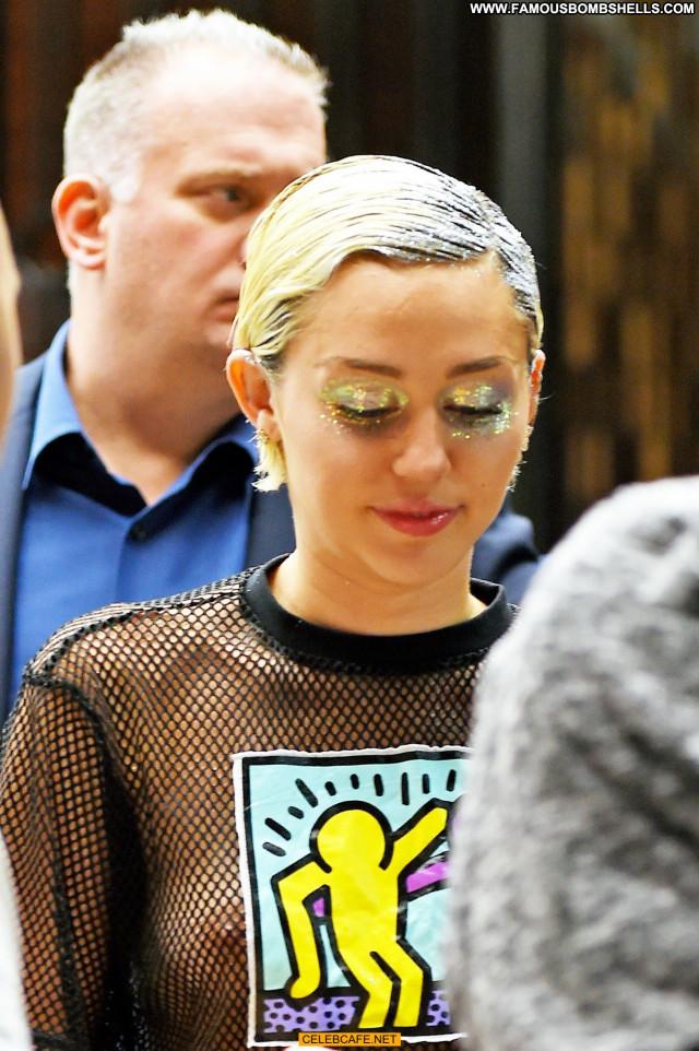 Miley Cyrus No Source Shirt Shorts See Through Babe Posing Hot