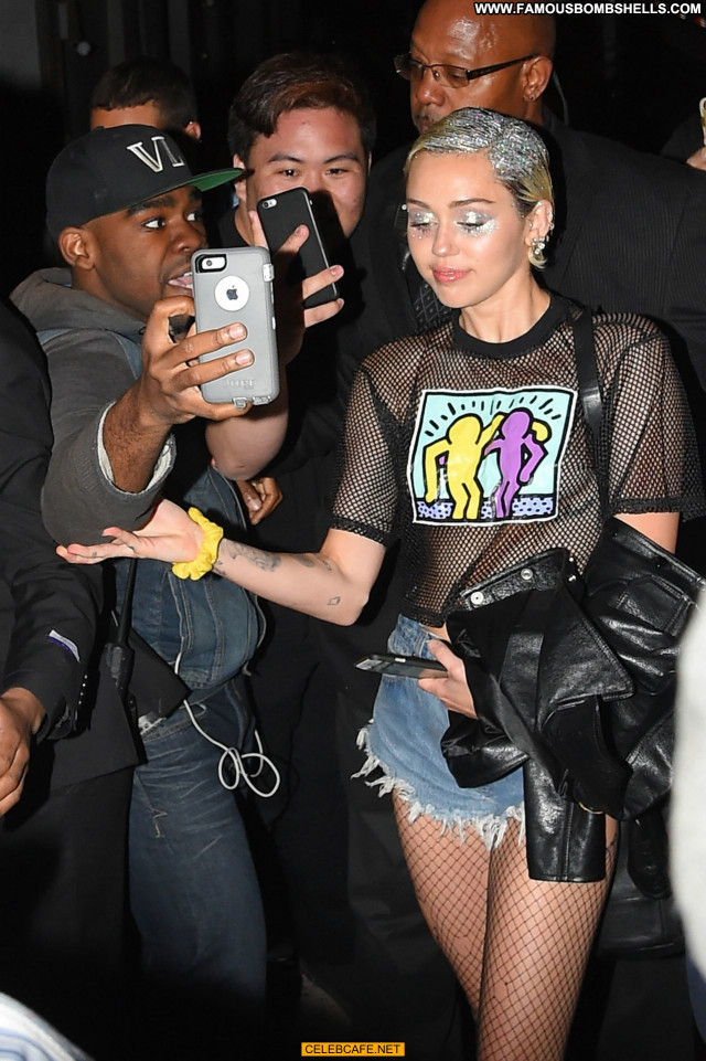 Miley Cyrus No Source Shirt Shorts Celebrity Babe See Through Posing