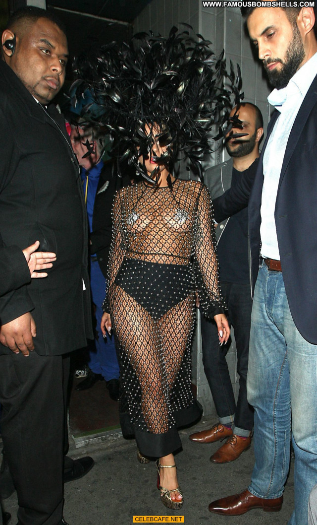 Lady Gaga No Source Posing Hot Toples Gag Fishnet London Celebrity