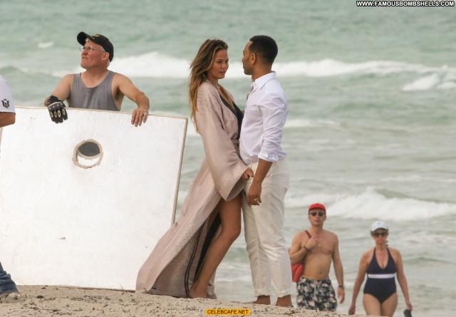 Chrissy Teigen Miami Beach Babe Posing Hot Photoshoot Beautiful