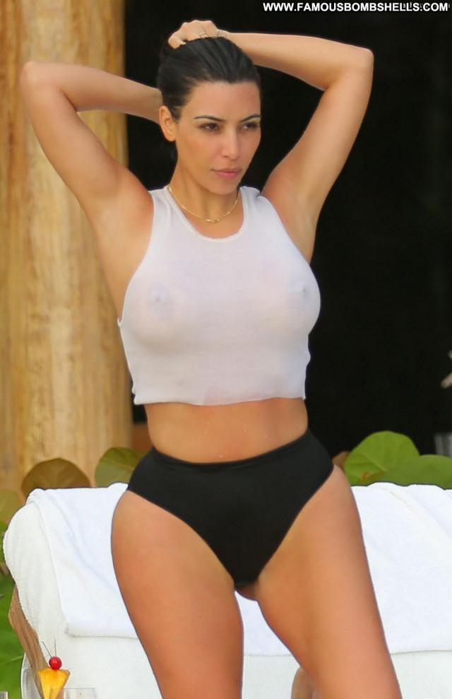 Kim Kardashian No Source Famous Ass Bar Pool Shirt Big Tits Posing